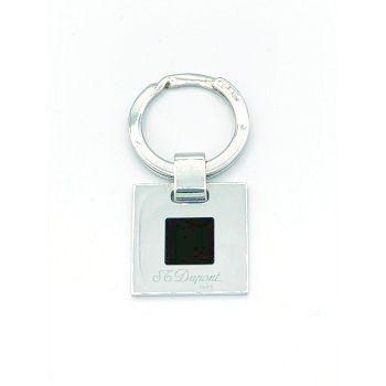 ST DUPONT, porte clefs argent massif laque noire