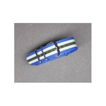 Bracelet NATO bleu blanc kaki  largeur 20 mm