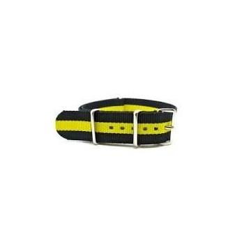 Bracelet NATO rayures jaune/noires largeur 20 mm