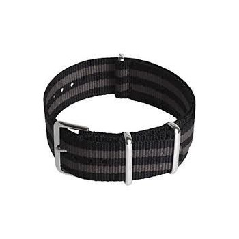 Bracelet NATO rayures noires et grises