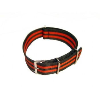 Bracelet NATO rayures oranges et noires largeur 20 mm