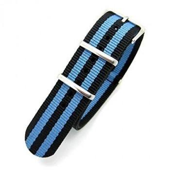 Bracelet NATO rayures bleues et noires largeur 20 mm