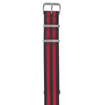 Bracelet NATO rayures rouges et noires 20 mm
