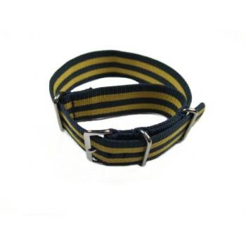 Bracelet NATO double rayures jaunes et bleues
