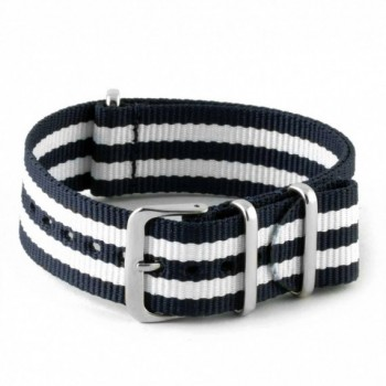 Bracelet NATO rayures blanches et noires