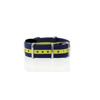 Bracelet NATO rayures bleues et jaune largeur 22 mm