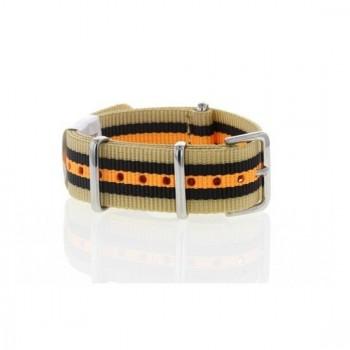 Bracelet NATO rayures beiges noires oranges largeur 22 mm