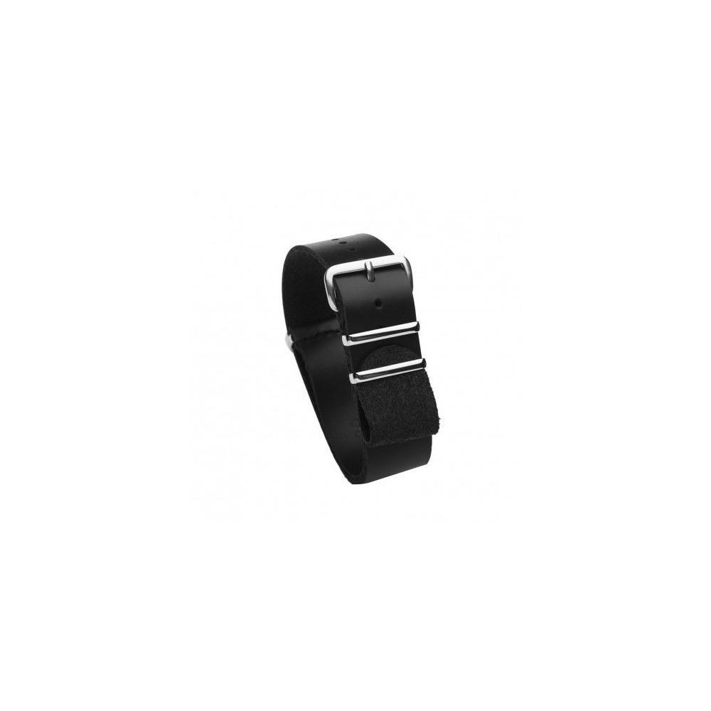 Bracelet lanière vachette noire largeur 18 mm