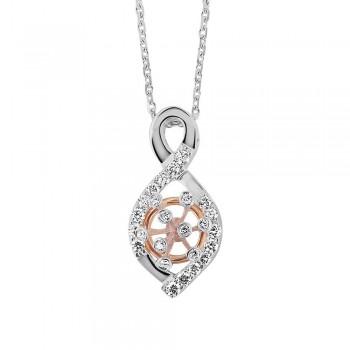 Pendentif or rose or blanc 750 /°° diamants 0.55 carat
