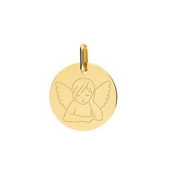 Médaille Ange de Raphael or jaune 750 /°° diamètre 15 mm