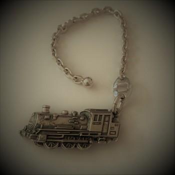 BELKAS, Porte-clefs argent massif 925 /°°  locomotive
