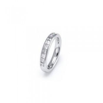 Demi-alliance LEA or blanc 750/°° diamants princesse 0.45 carat certifiés HRD Anvers