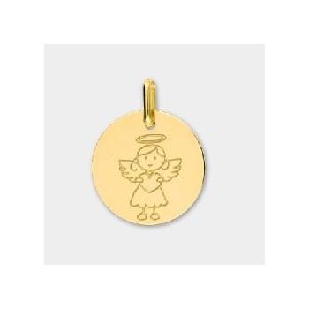 Médaille or jaune 750/°° Ange fille diamètre 16 mm