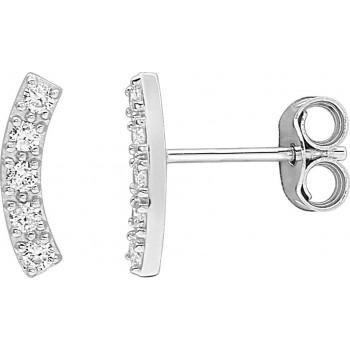Boucles d'oreilles JUSY or blanc 750 /°° diamants 0,13 carat