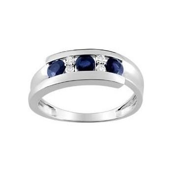 Bague HUDSON or blanxc 750 /°° diamants saphirs bleus 0.73 carat