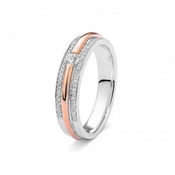 Bague EVISA  or rose or blanc 750 /°° diamants 0,22 carat