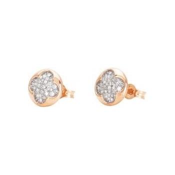 Boucles d'oreilles JANE or rose 750 /°° diamants 0,13 carat