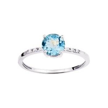Bague PIETRA or blanc 750 /°° diamants topaze bleue 1,15 carat