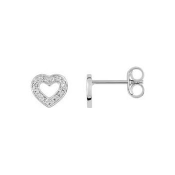 Boucles d'oreilles PINSON or blanc 750 /°° diamants 0.01 carat
