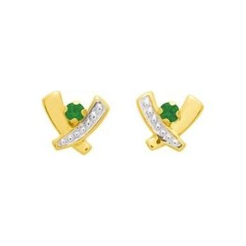 Boucles d'oreilles SOURIRE or jaune 750 /°° émeraudes