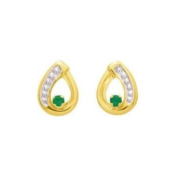 Boucles d'oreilles ERIN or jaune 750 /°° émeraudes