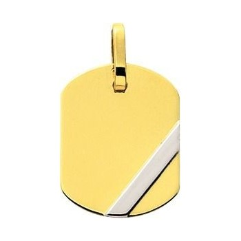 Pendentif VICTOR or jaune or blanc 750/°° plaque tonneau