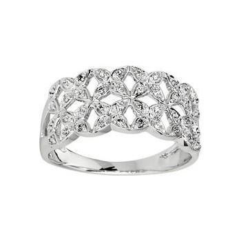 Bague FOLK or blanc 750 /°° diamants 0,12 carat