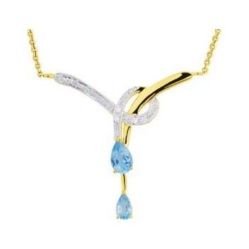 Collier MADELON or jaune 750 /°° diamants topazes bleues