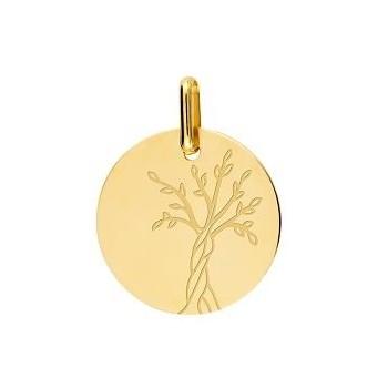 Médaille ARBRE DE VIE  or jaune 750 /°°  diamètre 16 mm