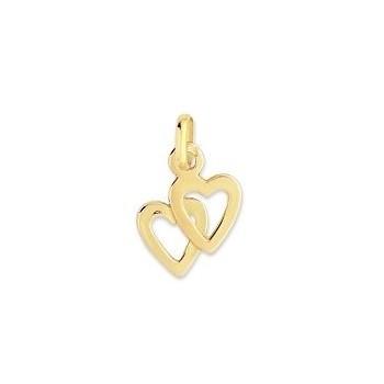 Pendentif LAILA double cœur or jaune 750 /°°