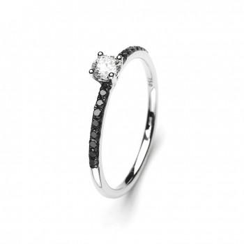 Bague de fiançailles ANAIA or blanc diamants 0,35 carat
