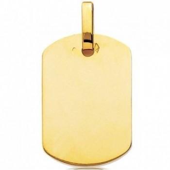 Pendentif FRANCIS plaque tonneau or jaune 750 /°° dimensions 29 mm x 20 mm