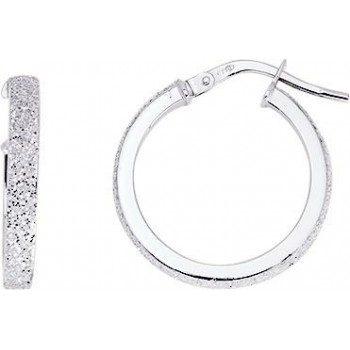 Boucles d'oreilles VALENCE or blanc fil rectangle diamètre 15 mm