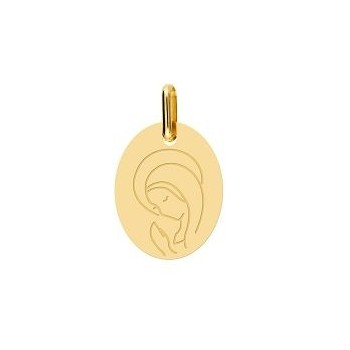 Médaille Vierge AIMEE or jaune 750 /°° dimensions 16 mm x 13 mm