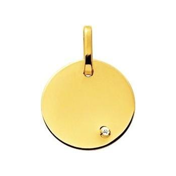 Médaille BAHIA or jaune 750 /°°  diamant 0,01 carat diamètre 16 mm