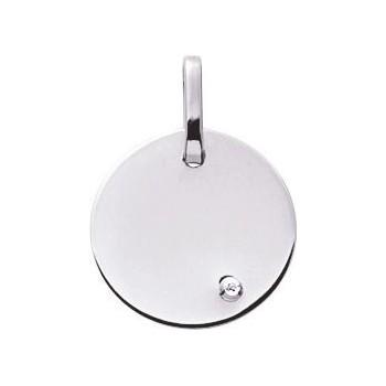 Médaille BAHIA or gris 750 /°° diamant 0.01 carat diamètre 16 mm