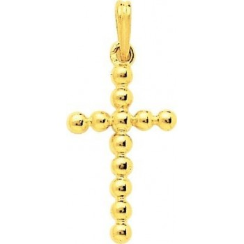 Croix BOULES or jaune 750 /°° dimensions 29 mm x 13 mm