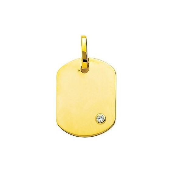 Pendentif VINCE  or jaune 750 /°° diamant dimensions 24 mm x 14 mm