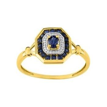 Bague DELICIEUSE or jaune 750 /°° saphirs bleus 0.48 carat