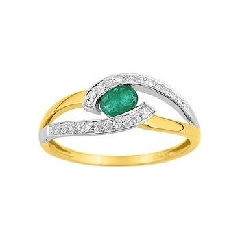 Bague RACHEL  or jaune 750 /°° diamants émeraude
