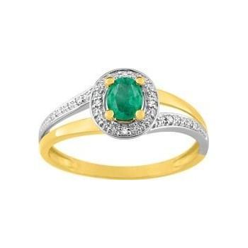 Bague ANITA  or jaune 750 /°° diamants émeraude 0.33 carat