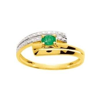 Bague ALYA or jaune 750 /°° diamants émeraude 0.16 carat