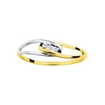 Bague SONGEUSE or jaune or blanc 750 /°° diamants 0.03 carat