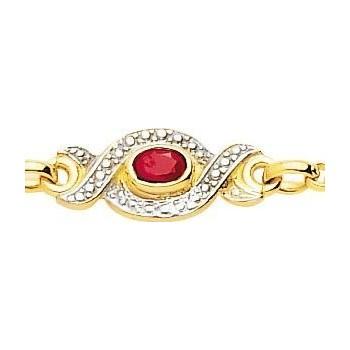 Bracelet SLAGNE or jaune 750 /°° diamants rubis