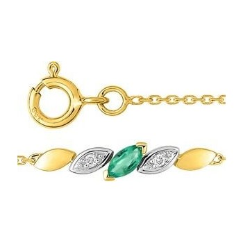 Bracelet ANNE or jaune or blanc 750 /°° diamant émeraude