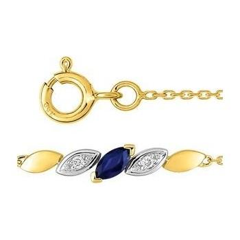 Bracelet ANNE or jaune or blanc 750 /°° diamant saphir bleu