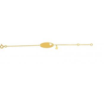 Bracelet identité bébé ALISON  or jaune 750 /°° pampille