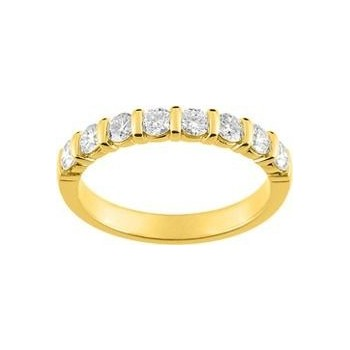Demi-alliance BARETTE or jaune 750 /°° diamants 0,80 carat