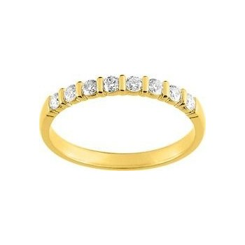Demi-alliance BARETTE or jaune 750 /°° diamants 0,30 carat
