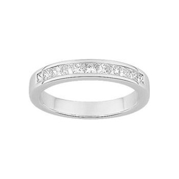 Demi-alliance PRINCESSE or blanc 750 /°° diamants 0,30 carat
